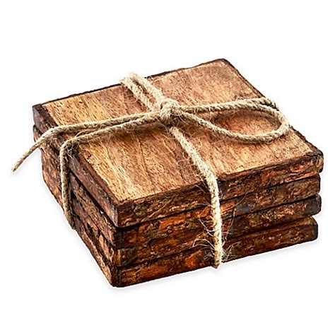 bed bath and beyond coasters thirstystone 174 square mango wood bark coasters set of 4