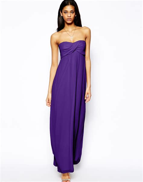 Dress Maxi Dress Wanita Maxi 1 asos bandeau maxi dress in purple lyst