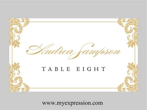 Place Card Template Word 2003 by Wedding Place Cards Template Gold Damask By