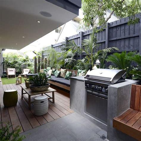 backyard built in bbq darren dea s beautiful terrace from the block triple