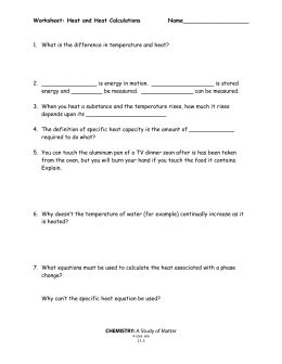Heat Calculations Worksheet Answers
