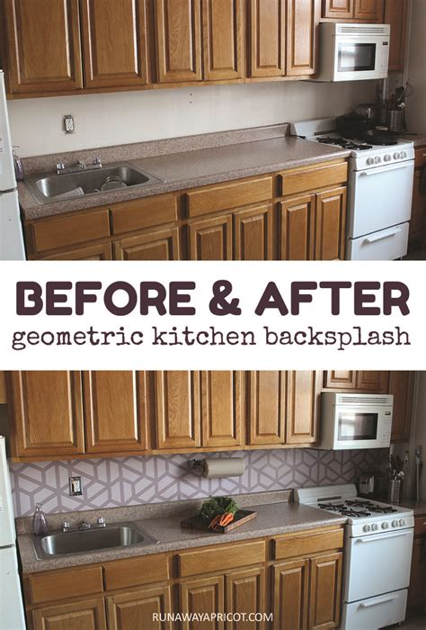 before and after painted tile backsplash curbly how to paint a geometric tile kitchen backsplash