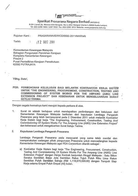 Appointment Letter Adalah Skandal Kontrak Pembinaan Projek Tambahan Sistem Lrt