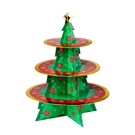 colourful christmas tree shaped cup cake stand 3 tier