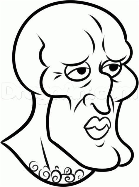 how to draw handsome squidward step by step nickelodeon
