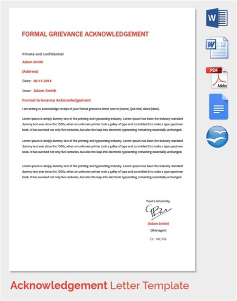 sample acknowledgement service forms
