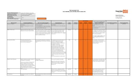 risk assessment plan template risk assessment template excel calendar template excel