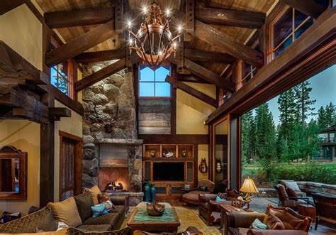 Lodge Living Room Decor by Mountain Cabin Overflowing With Rustic Character And Handcrafted