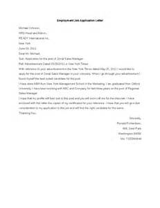 Application Letter Of Employment Employment Application Letter Hashdoc