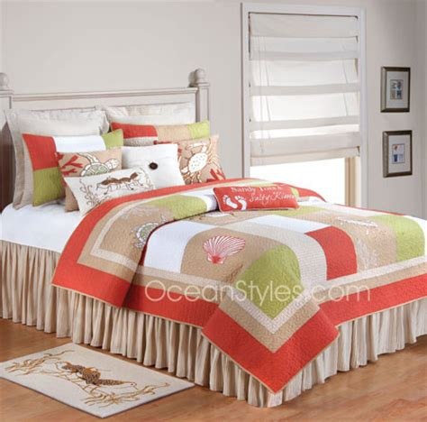 salmon colored bedding sandpiper cove bedding oceanstyles