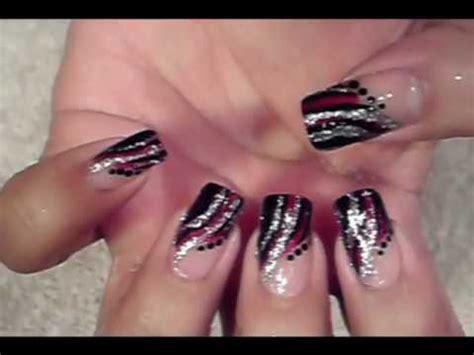 easy quick nail art design red black & silver design youtube