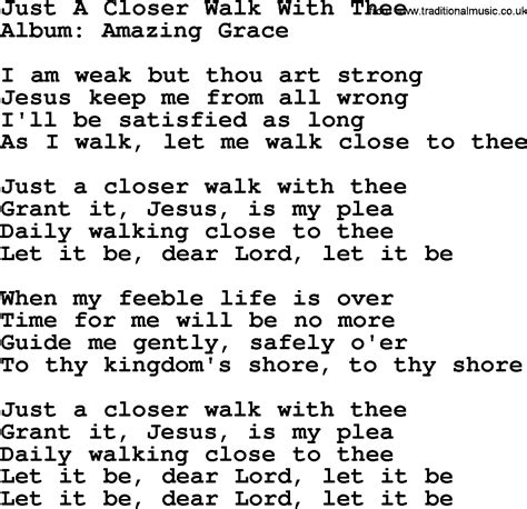 printable lyrics to just a closer walk with thee just a closer walk with thee by george jones counrty