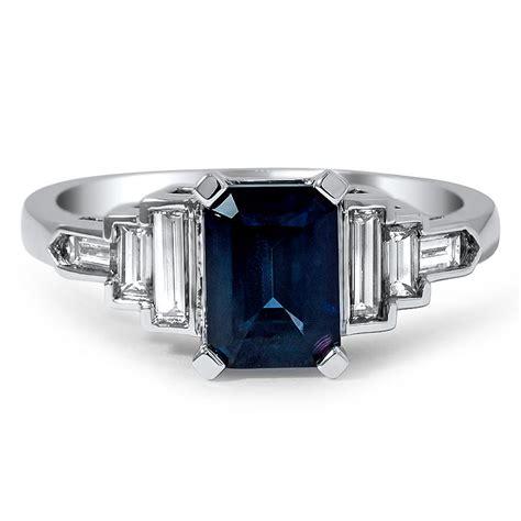 custom emerald cut sapphire and baguette ring