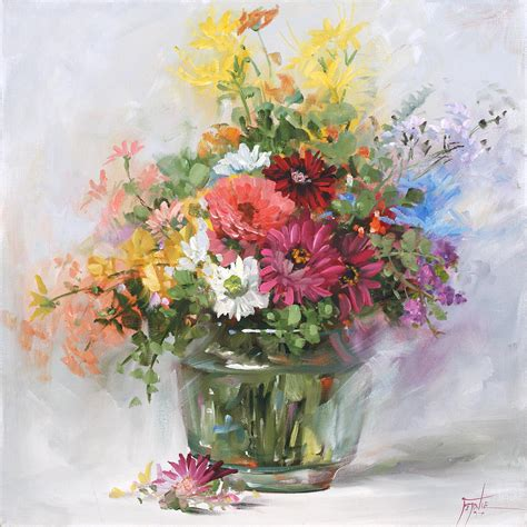 Paintings Of Flowers In A Vase by Mixed Flowers In A Glass Vase 2555 By Fernie Taite