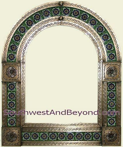 Mexiarched Tin Framed Mirror With Talavera Tiles