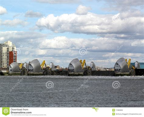 thames barrier in operation thames barrier with it s flood gates closed stock image