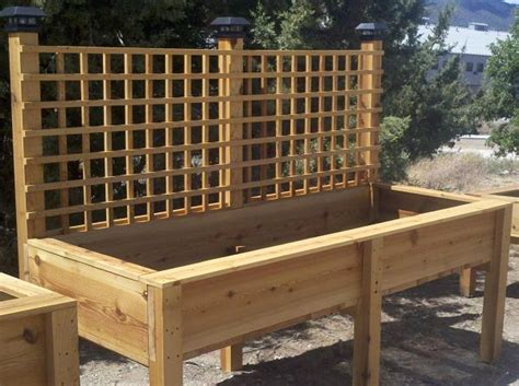 raised planter box with lattice and lights raised garden