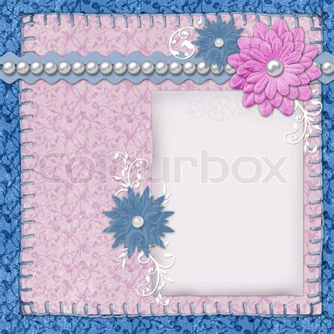 flower design using colored paper scrapbook layout in blue and pink colors with paper