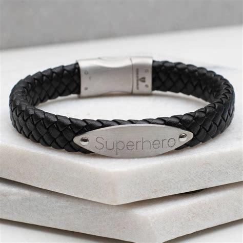 mens leather id bracelets s personalised leather id bracelet hurleyburley