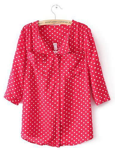 Sale Sale Celana Polkadot womens polka dot shirt great white simple hem