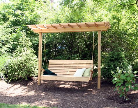 outdoor patio pergola swing red cedar marquis arbor