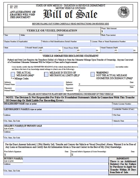 bill of sale with lien template free new mexico bmv vehicle boat bill of sale mvd