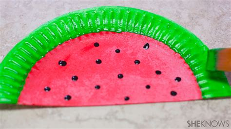 Watermelon Paper Craft - cool craft transform paper plates into colorful fans