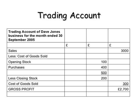template profit and loss account trading profit and loss account printable word