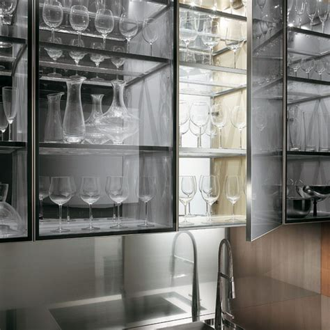 kitchen minimalist transparent glass kitchen wall