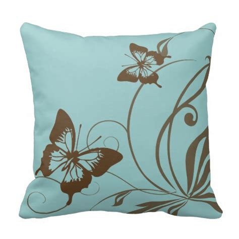 And Teal Throw Pillows by Brown And Teal Butterfly Throw Pillow Zazzle