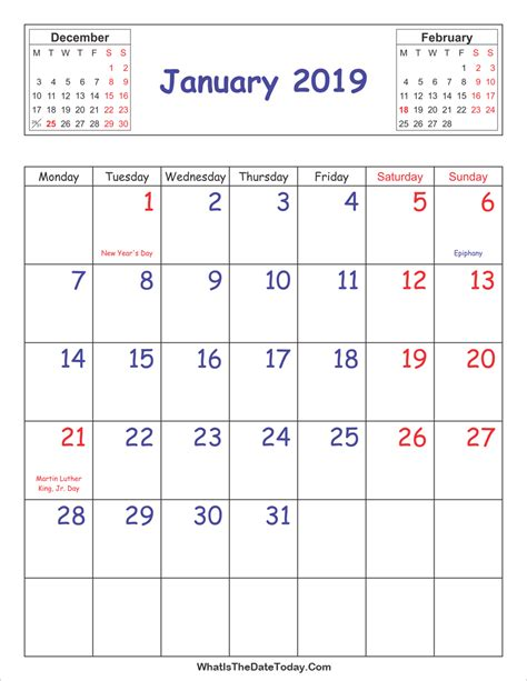 printable calendar january vertical layout