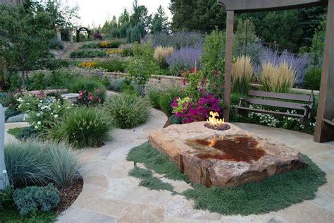 boulder fire pit landscape mediterranean with sloped