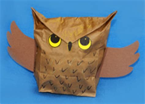 Owl Paper Bag Craft - paper lunch sack craft ideas for fall 187 dollar store crafts