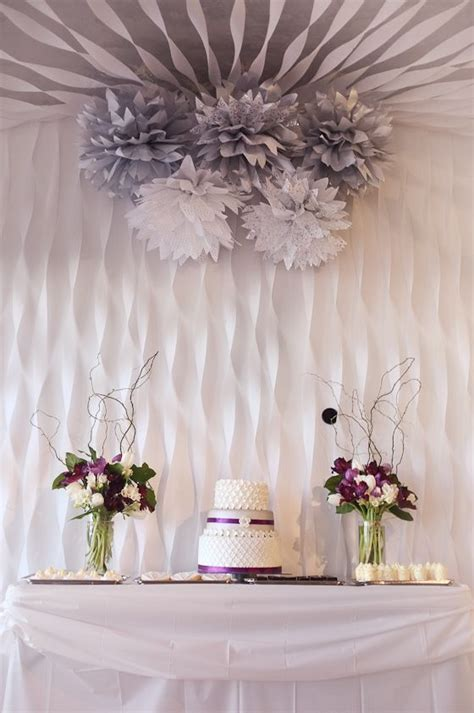 silver purple and white dessert table   Party Ideas