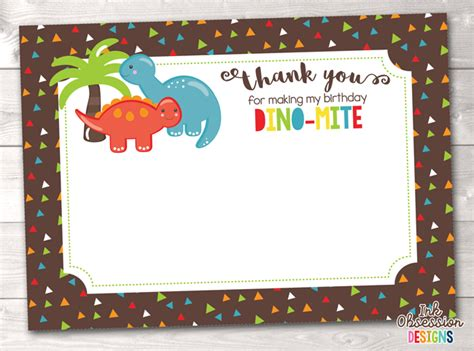 dinosaur thank you card template dinosaur birthday thank you cards erin bradley ink