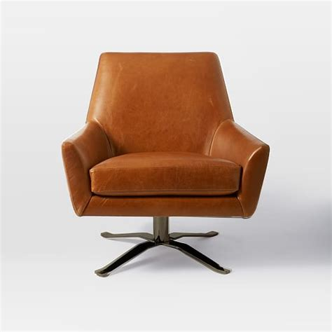Lucas Leather Swivel Base Chair West Elm Swivel Base For Chair