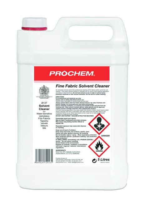 Solvent Based Cleaner For Upholstery by Prochem Fabric Solvent Cleaner 5l Janitorial Direct Ltd