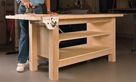 make a work bench rock solid plywood bench startwoodworking com