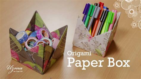 How To Make A Paper Box Origami - how to make paper box origami craft project easy and