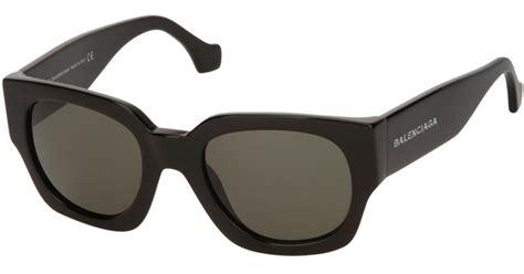 lyst balenciaga square frame sunglasses in black