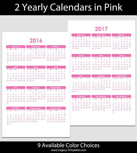 2 Year Calendar 2016 2017 Yearly Calendar 5 1 2 Quot X 8 1 2 Quot Legacy