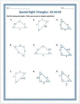 Geometry Special Right Triangles Worksheet by Special Right Triangles 45 45 90 Practice Worksheet By Dr