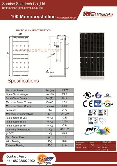Solar Panel Cell Surya Module Gh 100 Wp 100wp 12v 12 V Poly Murah modul solar cell monocrystalline 100w