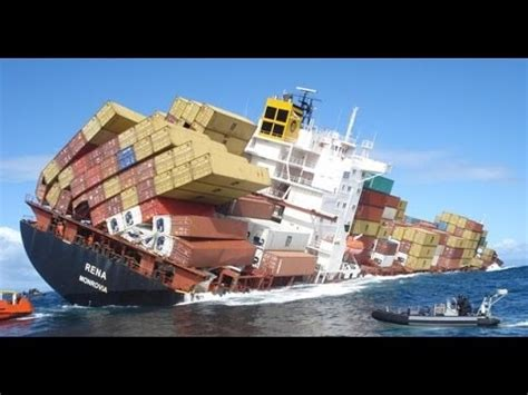 ship accident fatal container ship crashes video youtube