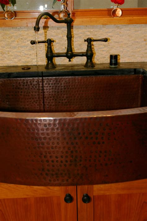 hammered copper farmhouse sink hammered copper sink powder room with gray counter