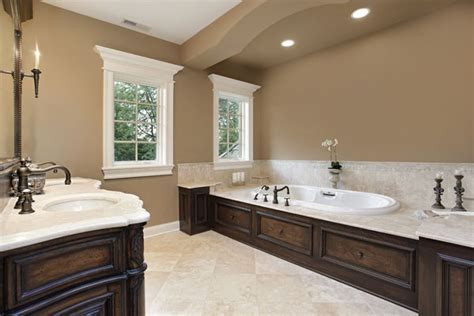 Classic Brown Bathroom With Lights And Bathtub Neutral