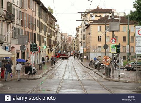 corso di porta ticinese corso di porta ticinese in milan italy stock photo