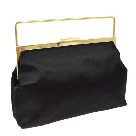Gucci Evening Bag Purses Designer Handbags And Reviews At The Purse Page by Gucci Black Gold Metal Closure Evening Clutch Top Handle