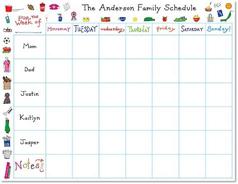new 366 printable family weekly schedule family worksheet