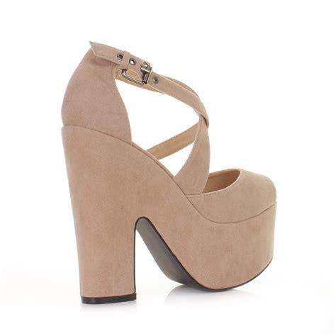 high heel wedges womens beige suede style cut out platform high heel